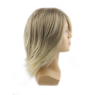 Syntetiske parykker Bølget Blond Med lugg Syntetisk hår Blond Parykk Herre / Dame Mellemlængde Lokkløs Blond