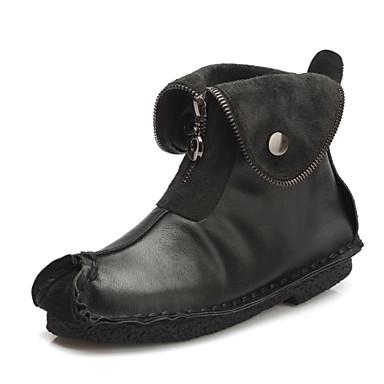 Støvler-Læder-Modestøvler / Fladsko / Komfort / Firkantet tå-Dame-Sort / Brun-Udendørs / Formelt / Hverdag-Flad hæl