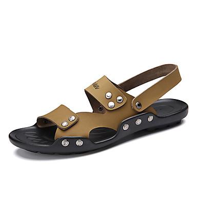 Sandaler-Læder-Komfort-Herre-Sort Khaki-Fritid-Flad hæl