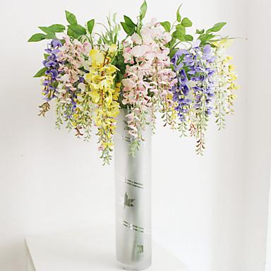 1 Ast Polyester Kunststoff Orchideen Boden-Blumen Künstliche Blumen