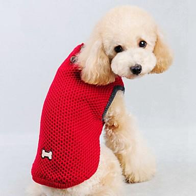 Gato Perro Suéteres Chaleco Ropa para Perro Un Color Rojo Azul Algodón Disfraz Para mascotas Hombre Mujer Casual/Diario Mantiene abrigado
