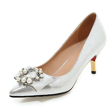Damen-High Heels-Outddor / Büro / Lässig-Kunststoff-Stöckelabsatz-Absätze-Schwarz / Rosa / Rot / Weiß / Silber / Gold / Pfirsich