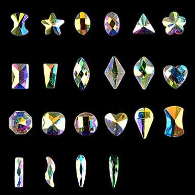 10Pakning spiker kunst flat mange aspekter spesiell formet diamant ab irise negler shanzuan 12 stil valgfritt
