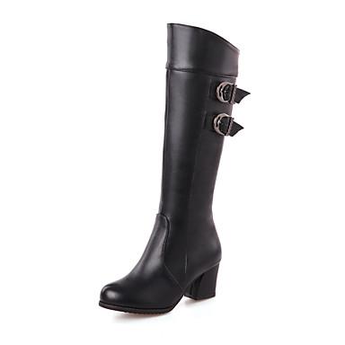 Støvler-Kunstlæder-Modestøvler-Dame-Sort / Brun / Rød / Hvid-Udendørs / Kontor / Hverdag-Tyk hæl