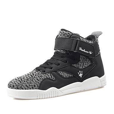 Sneakers-Stof-Komfort-Herre-Sort Rød Sort og Hvid-Udendørs Fritid Sport-Flad hæl