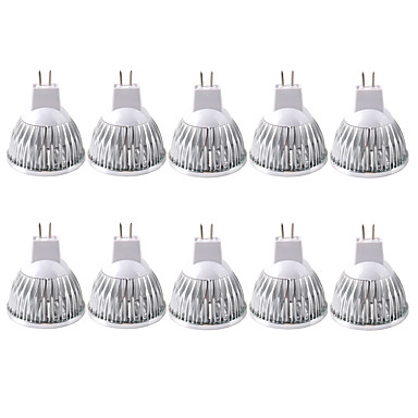 ZDM® 10pcs 3W 250-300lm MR16 LED-spotpærer 1 LED perler COB Dekorativ Varm hvit Kjølig hvit 12V
