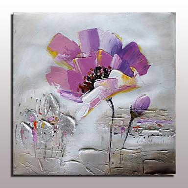 Pintada a mano Abstracto / Floral/Botánico Pinturas de óleo,Modern Un Panel Lienzos Pintura al óleo pintada a colgar For Decoración