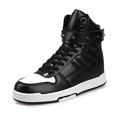 Sneakers-Mikrofiber-Komfort-Herre-Sort Elfenbensfarvet Hvid Sort og Hvid-Udendørs Fritid Sport-Flad hæl