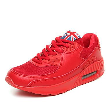 Herrn Schuhe Mikrofaser Tüll Frühling Herbst Komfort Sneakers Walking Schnürsenkel für Sportlich Normal Draussen Weiß Schwarz Rot Grün