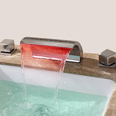 Waschbecken Wasserhahn - Wasserfall Chrom 3-Loch-Armatur Drei Löcher / Zwei Griffe Drei Löcher / Messing