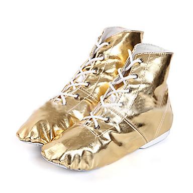 Dames Jazz dansschoenen / Danslaarzen Kunstleer Laarzen / Sneaker Lage hak Niet aanpasbaar Dansschoenen Zilver / Gouden / Prestatie