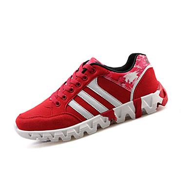 Herrer Sneakers Komfort Tyl Forår Efterår Afslappet Komfort Snøring Flad hæl Sort Rød Blå Flad