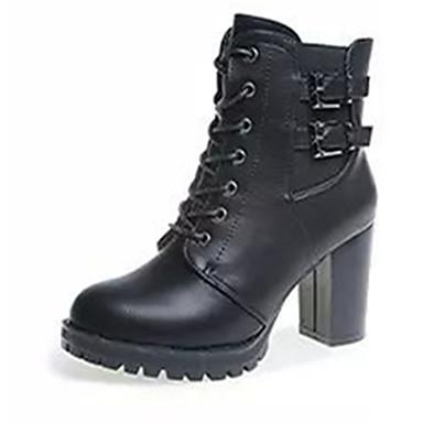 Mulheres Sapatos Couro Ecológico Outono / Inverno Botas da Moda Botas Salto Robusto / Salto de bloco Cadarço Preto / Cinzento