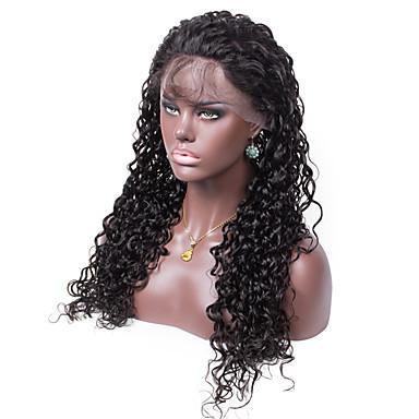 Menneskehår Lace Paryk Krøllet Helblonde Blonde Front 100 % håndbundet Afro-amerikansk paryk Natural Hairline 130% Massefylde Sort Kort