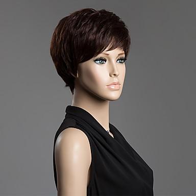 Menschliches Haar Capless Perücken Echthaar Glatt Stufenhaarschnitt Pixie-Schnitt Seitenteil Kurz Kappenlos Perücke Damen