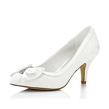 Mulheres Sapatos Seda Primavera Verão Conforto Saltos Salto Agulha Pedrarias para Casamento Social Festas & Noite Ivory