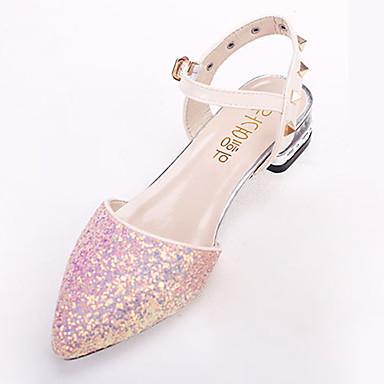 Mulheres Sapatos Couro Ecológico Outono Conforto Sandálias Sem Salto Tachas / Presilha Branco / Roxo / Rosa claro