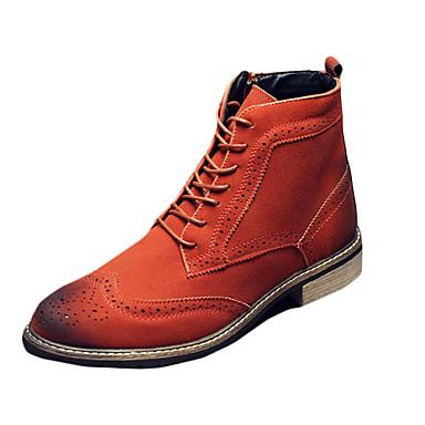Heren Laarzen Herfst Winter Comfortabel Modieuze laarzen PU Casual Lage hak Veters Zwart Bruin Grijs Overige