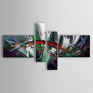 Handgeschilderde Abstract / Landschap / Stilleven / Vrije tijd Olie schilderijen,Modern / Klassiek / Europese Stijl Vier panelen Canvas