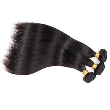 人毛 ペルービアンヘア 人間の髪編む ストレート ヘアエクステンション 3個 ブラック