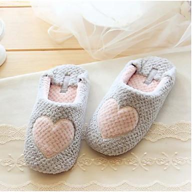 Feminino Sapatos Algodão Outono Inverno Conforto Chinelos e flip-flops Rasteiro Para Casual Cinzento Rosa claro