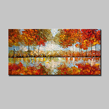 Pintada a mano Abstracto / Paisaje / Floral/Botánico / Paisajes Abstractos Pinturas de óleo,Modern / Estilo europeo Un Panel Lienzos