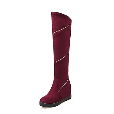 Mulheres Sapatos Flanelado Outono Inverno Botas da Moda Botas Salto Plataforma Combinação para Casual Escritório e Carreira Preto