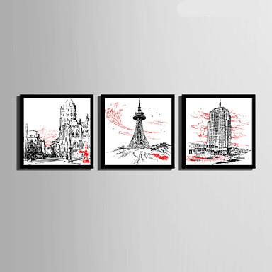 Arkitektur Indrammet Lærred / Indrammet Sæt Wall Art,PVC Materiale Sort Ingen Måtte med Frame For Hjem Dekoration Frame Art