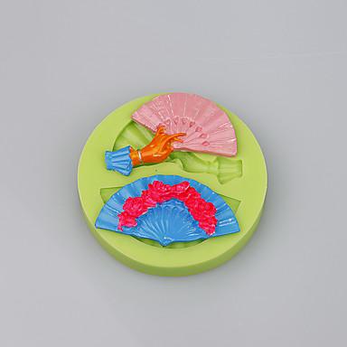 Mode vouw fan vorm siliconen taartvorm decoratie gereedschap voor fondant taart kleur willekeurig