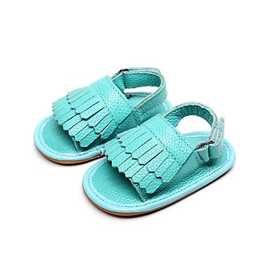 Unisexo Bebê sapatos Couro Verão Sandálias Caminhada Mocassim para Casual Verde Azul Rosa claro Dourado Verde Claro