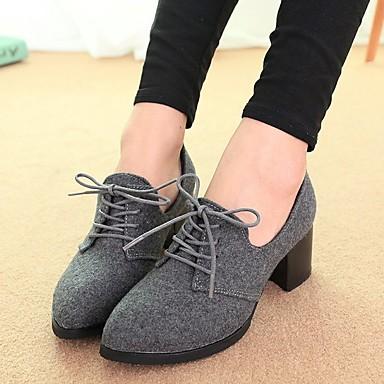 Naiset Kengät Tekonahka Syksy Oxford-kengät Paksu korko varten Kausaliteetti Musta Vaalean harmaa