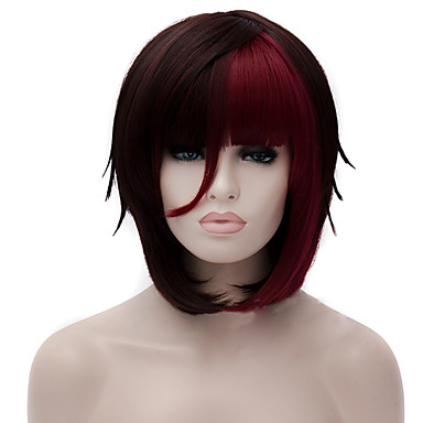 Pelucas sintéticas Recto / Liso Natural Corte asimétrico Pelo sintético Pelo Ombre Negro Peluca Mujer Corta Sin Tapa Negro / Rojo