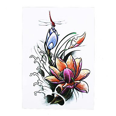 1pc Women Men Body Art Temporary Tattoo Dragonfly Lotus Flower Style