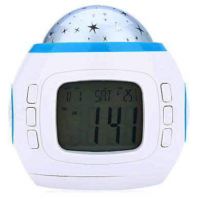 3W DC 1.5V música e calendário céu starry levou lâmpada de projeção com termômetro despertador