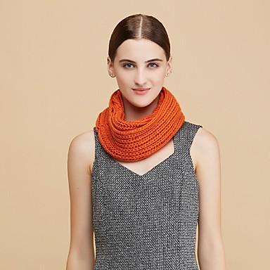 Damer Afslappet Uld Halstørklæde-Ensfarvet Uendelighedshalstørklæde Hvid Brun Gul Grå Orange