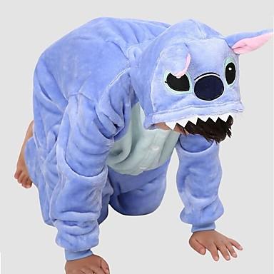 Kinder Kigurumi-Pyjamas Blaues Monster Pyjamas-Einteiler Kostüm Polar-Fleece Blau Cosplay Für Tiernachtwäsche Karikatur Halloween Fest / Feiertage / Weihnachten