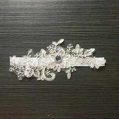 Blonder / Elastisk sateng Klassisk / Mote Bryllupsklær Med Rhinsten / Blomst Strømpebånd