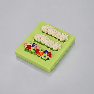 Molde de silicone fda de qualidade alimentar 3 cores de flores para ferramentas de decoração de bolo de fondant cor ramdon