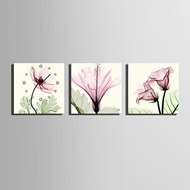 Quadrada Moderno/Contemporâneo Relógio de parede , Outros Tela40 x 40cm(16inchx16inch)x3pcs/ 50 x 50cm(20inchx20inch)x3pcs/ 60 x