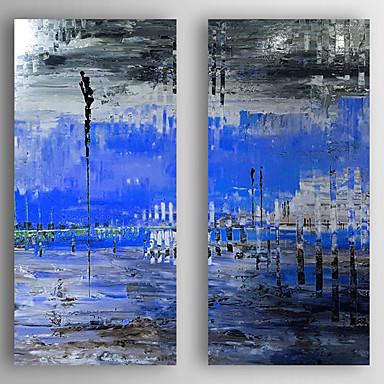 Handgeschilderde Landschap Vierkant, Modern Kangas Hang-geschilderd olieverfschilderij Huisdecoratie Twee panelen