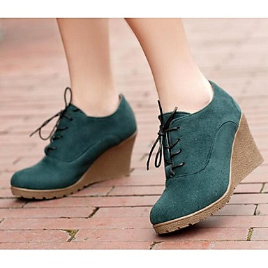 Feminino Sapatos Couro Ecológico Primavera Verão Outono Inverno Botas Anabela Cadarço Para Preto Laranja Vermelho Verde Azul