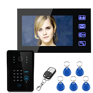 abordables Seguridad-Ennio tecla táctil sistema de teléfono video de la puerta de intercomunicación contraseña RFID 7 lcd wth sistema de control de acceso a la