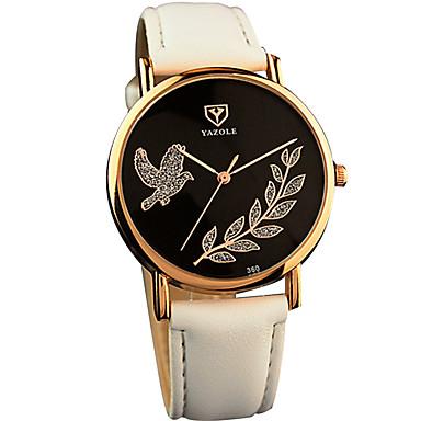 YAZOLE Mulheres Relógio de Moda Relógio de Pulso Quartzo / PU Banda Legal Casual Preta Branco Vermelho Marrom Branco Preto Marron Vermelho