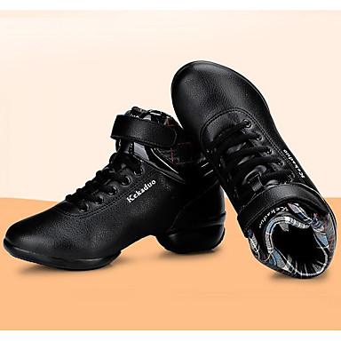 Sneakers-Læder Pels-Rulleskøjtesko-Damer-Sort-Udendørs Sport-Tyk hæl