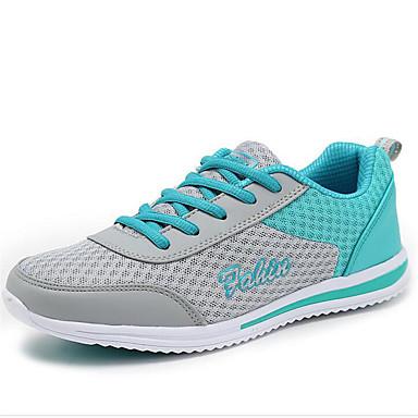 Damer Sneakers Komfort Forår Efterår Kanvas Tyl Gang Afslappet Snøring Flad hæl Blå Lys pink 5-7 cm