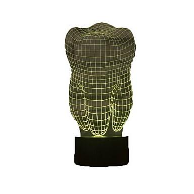 צורת השן אשליה 3D מנורת לילה מנורת שולחן הוביל