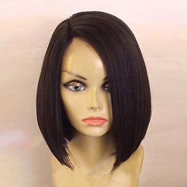 povoljno Perike i ekstenzije-Ljudska kosa Perika s prednjom čipkom bez ljepila Lace Front Perika Bob frizura stil Brazilska kosa Ravan kroj Perika s dječjom kosom Prirodna linija za kosu Afro-američka perika 100% rađeno rukom