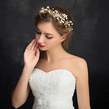 Vrouwen Bloemenmeisje Bergkristal Licht Metaal Imitatie Parel Helm-Bruiloft Speciale gelegenheden Informeel Hoofdbanden 1 Stuk