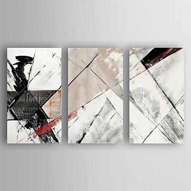 Hang-Painted Oliemaleri Hånd malede - Abstrakt Moderne Lærred / Tre Paneler / Stretched Canvas