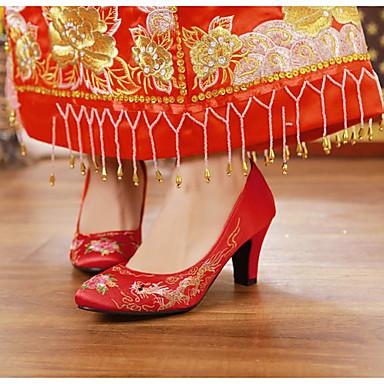 Mulheres Sapatos Courino Primavera / Outono Conforto Saltos Salto Robusto Vermelho / Casamento